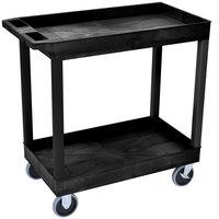 Luxor EC11HD-B Black Two Tub Shelf Utility Cart - 18 inch x 35 1/4 inch x 35 1/4 inch