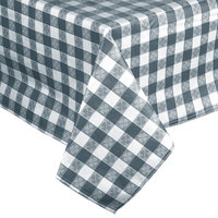 Intedge 52 inch x 90 inch Blue Checkered Gingham Vinyl Table Cover with Flannel Back