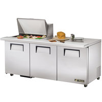 True TSSU-72-12M-B-ADA 72 inch Mega Top Three Door ADA Height Sandwich / Salad Prep Refrigerator