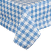 52 inch x 72 inch Blue Checkered Vinyl Table Cover with Flannel Back