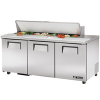 True TSSU-72-16-ADA 72 inch Three Door ADA Height Sandwich / Salad Prep Refrigerator