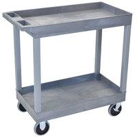 Luxor EC11HD-G Gray Two Tub Shelf Utility Cart - 18 inch x 35 1/4 inch x 35 1/4 inch