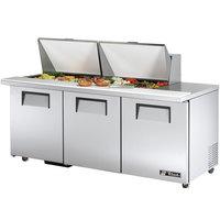 True TSSU-72-24M-B-ST-ADA 72 inch Mega Top Three Door ADA Height Sandwich / Salad Prep Refrigerator