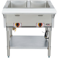 APW Wyott ST-2S Two Pan Exposed Stationary Steam Table with Stainless Steel Legs and Undershelf - 1000W - Open Well, 120V