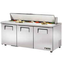 True TSSU-72-18-ADA 72 inch Three Door ADA Height Sandwich / Salad Prep Refrigerator