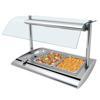 Hatco SRBW-1 Anodized Nickel Serv-Rite Portable Pan Buffet Warmer with Overhead Heating - 800W