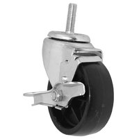 All Points 26-3271 4 inch Swivel Threaded Stem Caster with Brake - 1/2 inch-13 x 1 1/2 inch Stem, 240 lb. Capacity