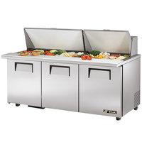 True TSSU-72-30M-B-ST-ADA 72 inch Mega Top Three Door ADA Height Sandwich / Salad Prep Refrigerator