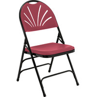 National Public Seating 1118 Black Metal Folding Chair with Burgundy Plastic Seat