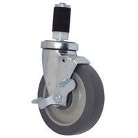 All Points 26-3411 5 inch Swivel Stem Caster with Brake for 1 3/16 inch O.D. Tubing - 300 lb. Capacity