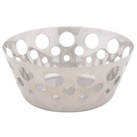 Tablecraft 7177 Stainless Steel 7 5/8 inch Round Serving Basket with Circle Cut Outs