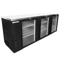Beverage-Air BB94HC-1-G-B 95 inch Black Back Bar Refrigerator with Three Glass Doors