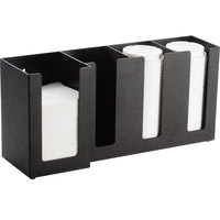 Cal-Mil 376-13 Classic Black 4-Section Countertop Cup, Lid, and Napkin Organizer