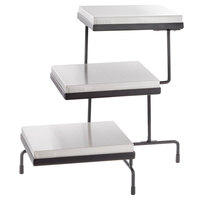 Tablecraft CaterWare CW40309B Three-Tiered Display Stand with Half Size Cooling Plates 21 inch x 17 inch x 19 1/2 inch