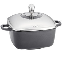 Tablecraft CWDC1030 CaterWare 5 Qt. Square Die-Cast Induction Ready Sauce Pan with Lid - 10 inch x 10 inch x 4 1/2 inch