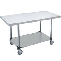 14 Gauge Metro MWT309FS 30 inch x 96 inch HD Super Stainless Steel Mobile Work Table with Stainless Steel Undershelf