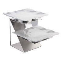 Tablecraft SR2N 2 Tier Stainless Steel Stand and Square Melamine Platters - 21 inch x 14 inch x 14 inch