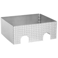 Tablecraft Caterware CW602CSS 2-Well Collapsible 16 Gauge Circle Swirl Stainless Steel Chafer Frame - 25 1/2 inch x 20 1/2 inch x 10 inch