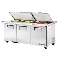 True TSSU-72-30M-B-DS-ST-ADA 72 inch Mega Top Dual Side Three Door ADA Height Sandwich / Salad Prep Refrigerator