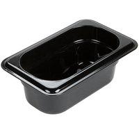 Carlisle 3088603 StorPlus 1/9 Size Black High Heat Plastic Food Pan - 2 1/2 inch Deep