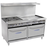 Bakers Pride Restaurant Series 60-BP-4B-G36-S26 Liquid Propane 4 Burner Range with Two Standard 26 inch Ovens and 36 inch Griddle