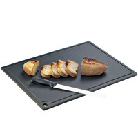 Cal-Mil 3337-1824-13 24 inch x 18 inch x 1/2 inch Black Resin Grooved Cutting Board