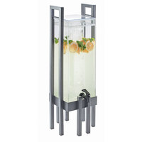 Cal Mil 3302-3INF-74 One by One 3 Gallon Acrylic Beverage Dispenser with Silver Frame and Infusion Chamber - 9 inch x 9 inch x 28 1/2 inch