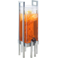 Cal-Mil 3302-3INF-74 One by One 3 Gallon Acrylic Beverage Dispenser with Silver Frame and Infusion Chamber - 9 inch x 9 inch x 28 1/2 inch