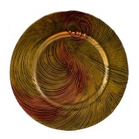 10 Strawberry Street CYC-340(RED-GOLD) 13 1/4 inch Cyclone Red/Gold Glass Charger Plate