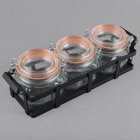 Cal-Mil 3335-13 Black Rustic Jar Condiment Display with 17 oz. Jars - 12 3/4 inch x 5 inch x 5 3/4 inch