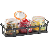 Cal-Mil 3335-13 Black Rustic Jar Condiment Display with 17 oz. Jars - 12 3/4 inch x 5 inch x 5 3/4 inch