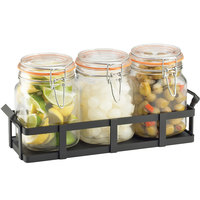 Cal-Mil 3336-13 Black Rustic Jar Condiment Display with 34 oz. Jars - 12 3/4 inch x 5 inch x 5 3/4 inch