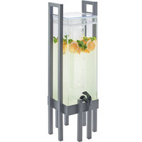 Cal-Mil 3302-3-74 One by One 3 Gallon Acrylic Beverage Dispenser with Silver Frame and Ice Chamber - 9 inch x 9 inch x 28 1/2 inch