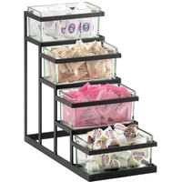Cal-Mil 3338-13 Black Stair Step Condiment Display with Glass Jars - 18 inch x 9 inch x 17 inch