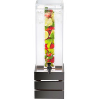 Cal-Mil 3301-3INF-96 Midnight Bamboo 3 Gallon Acrylic Crate Beverage Dispenser with Infusion Chamber - 8 inch x 8 inch x 25 1/2 inch