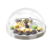 Cal Mil 3328-12-55 Stainless Steel Round Chill Sampler Display with Flip Lid - 12 1/2 inch x 7 1/2 inch