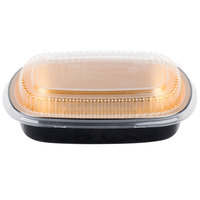 Durable Packaging 9442-PT-50 Medium Black and Gold Black Diamond Foil Entree / Take Out Pan with Dome Lid - 10/Pack