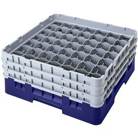 Cambro 49S434186 Navy Blue Camrack Customizable 49 Compartment 5 1/4 inch Glass Rack