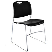 National Public Seating 8510 Black Stackable Ultra Compact Plastic Chair with Chrome Frame