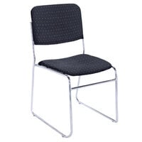 National Public Seating 8664 Diamond Navy Stackable Signature Padded Chair with Chrome Frame