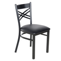 "Lancaster Table &amp&#x3b; Seating Black Cross Back Chair with 2 1/2"" Padded Seat"