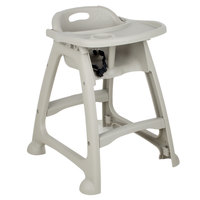 Lancaster Table & Seating Gray Polypropylene Stackable Restaurant High Chair with Tray (Ready to Assemble, No Wheels)