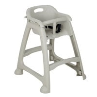 Lancaster Table & Seating Ready-To-Assemble Gray Polypropylene Stackable Restaurant High Chair with Tray (No Wheels)