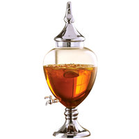 2.4 Gallon Fifth Avenue Crystal Glass Beverage Dispenser with Silver Accents