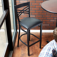 lancaster table u0026 seating cross back bar height chair with 2 12 inch padded