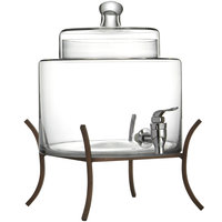 2 Gallon Fifth Avenue Crystal Glass Beverage Dispenser with Metal Stand