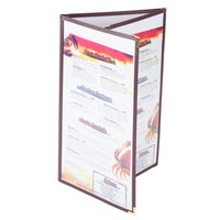8 1/2 inch x 14 inch Menu Solutions SE330D-BURG Triple Panel Folding Menu Jacket with 6 Views - Burgundy