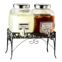 Double 1 Gallon Glass Style Setter Williamsburg Glass Beverage Dispenser with Silver Accents and Metal Stand