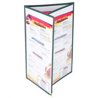 8 1/2 inch x 14 inch Menu Solutions SE330D-GREEN Triple Panel Folding Menu Jacket with 6 Views - Green