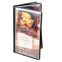 8 1/2 inch x 14 inch Menu Solutions SE340D-BLACK Triple Panel Booklet Menu Jacket with 6 Views - Black